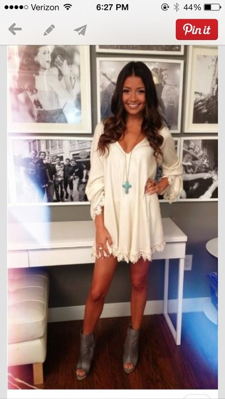 dress tan dress dress, shoes, pretty, cute, fashion, white dress, long sleeve dress