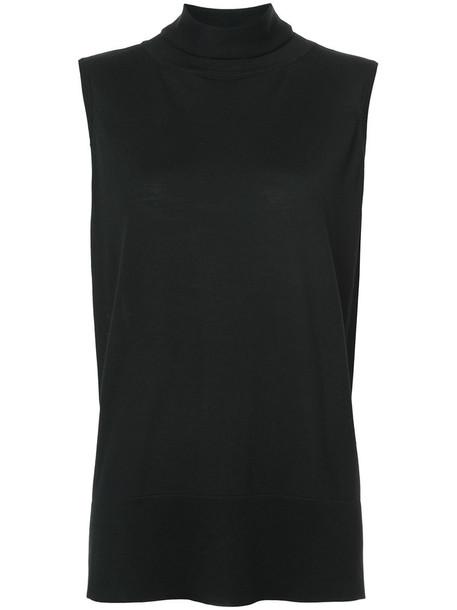 The Row - funnel neck top - women - Silk/Cashmere/Merino - M, Black, Silk/Cashmere/Merino