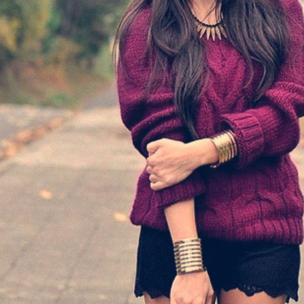 Sweater Purple Girl Style Fashion Red Burgundy Jewels Cute Winter Outfits Blouse
