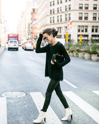 sweater black sweater leather pants tumblr pants black pants boots white boots ankle boots bag black bag