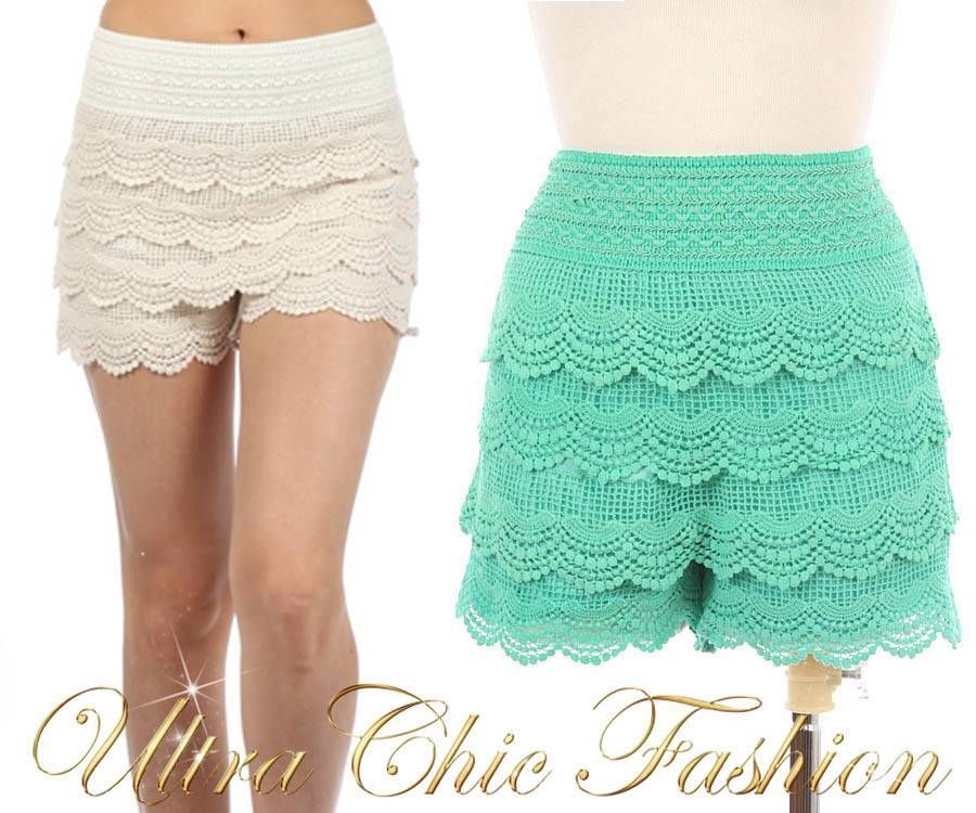 New Sexy Sz s M L 6 8 10 Mint Cream Crochet Lace Scalloped Hem Vintage Shorts | eBay