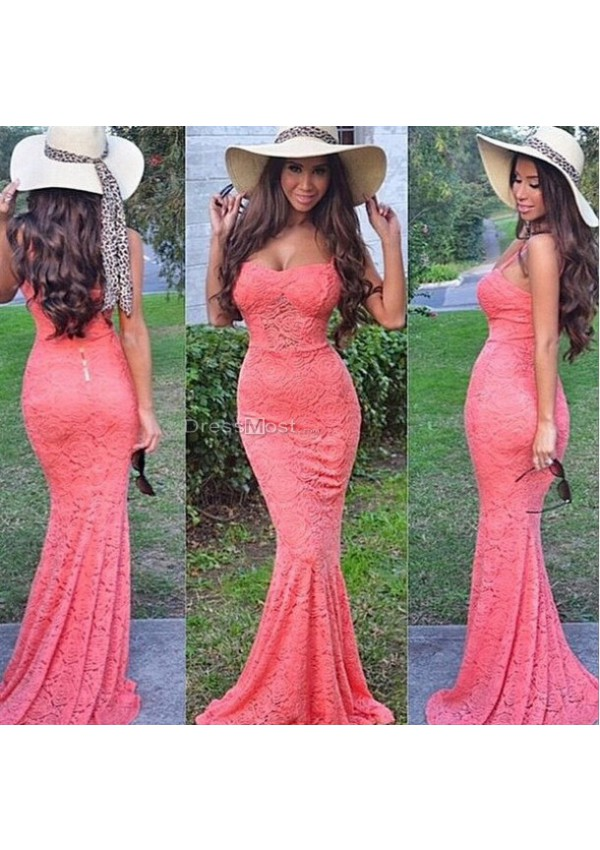 2015 lace spaghetti straps coral evening dress