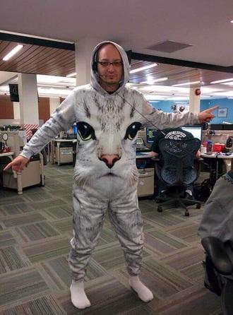 pajamas cats print onepiece onesie funny