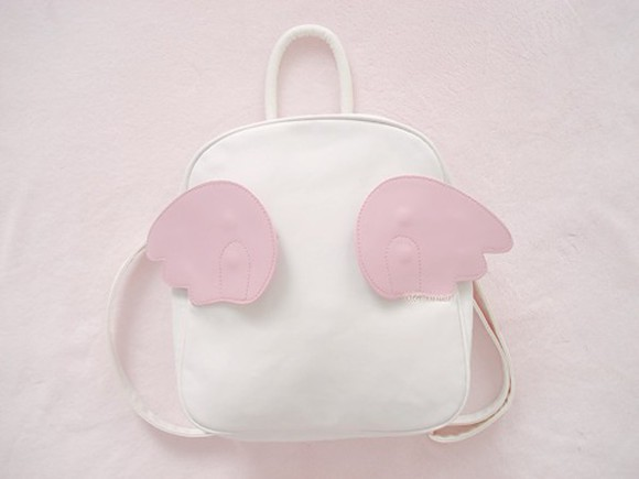 pastel wings white bag laquers pink rucksack
