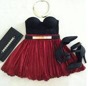 skirt,swag,prom dress,red dress,black dress,shoes,necklace,prom,love,this,feathers,dress,belt,red n black outfit,black,red,skaterdress,skater dress with gold plate belt,underwear