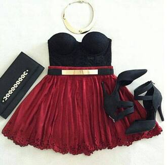 skirt swag prom dress red dress black dress shoes necklace prom love this feathers dress belt red n black outfit black red skaterdress skater dress with gold plate belt underwear