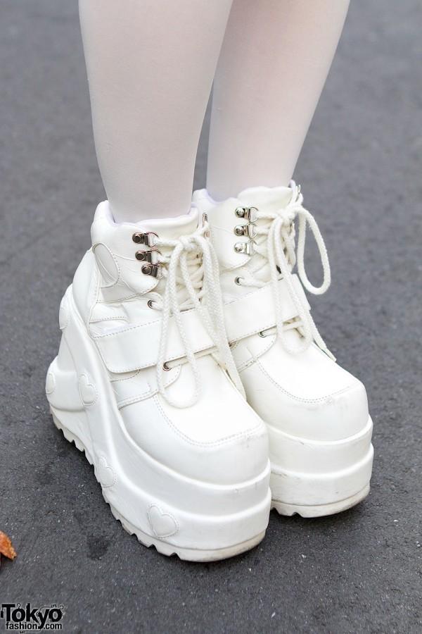 Shoes Tokyo Fashion Kawaii White Platform Sneakers
