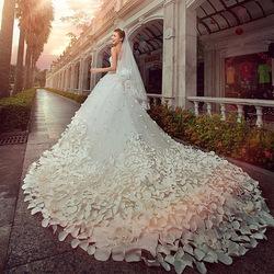 A demandé à la main mariée mariée mariage pétales 2013 l'arrivée de nouveaux grand train robe de mariée robe