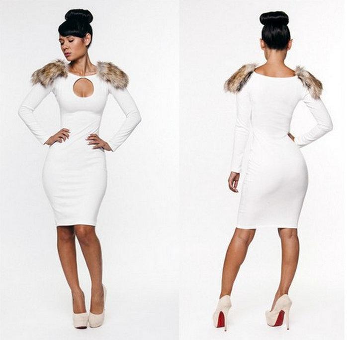 NBA128 Free shipping Women's Long-sleeve Sheath Dress White Hollow Out Dress Shoulder with Faux Fur Dress | Amazing Shoes UK