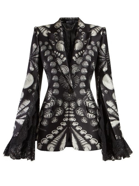 Alexander Mcqueen - Shell Print Lace Trimmed Wool Blend Twill Blazer - Womens - Black White
