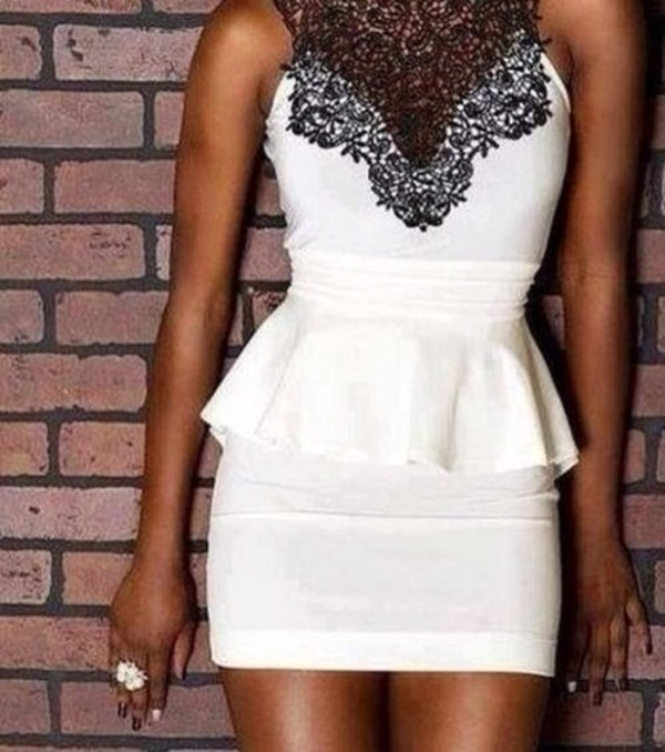 dress white dress peplum dress lace dress