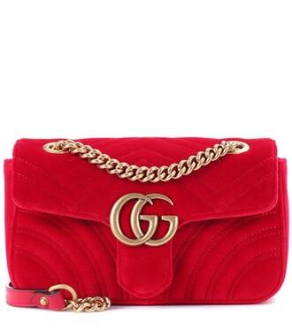 mini bag shoulder bag velvet red