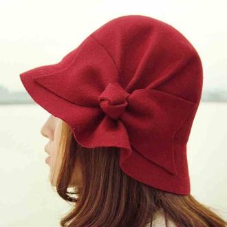 hat red vintage felt hat felt wool bows classy class