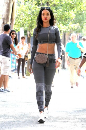 rihanna shoes sneakers leggings streetstyle top bag fashion week 2014 grey? jumpsuit t-shirt how to get this pants