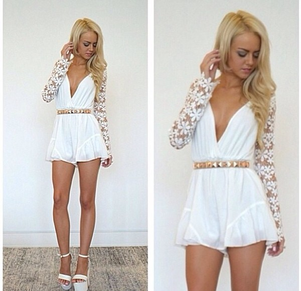 blouse jumpsuit white lovely gold lace floral