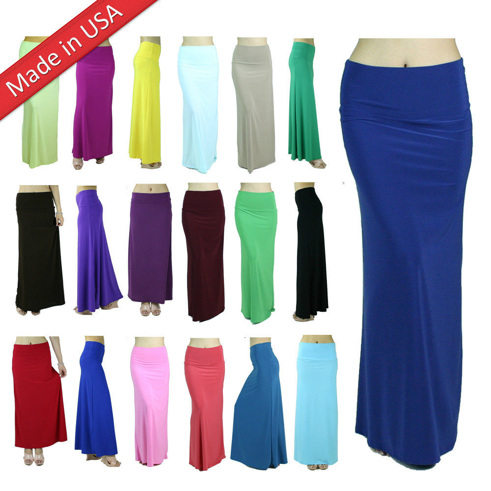Color Long Waist Banded Elegant High Waist Draped Plain Solid Jersey Maxi Skirt