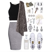 cardigan,grey cardigan,skirt,sexy but sophisticated,crop tops,black and gray,top