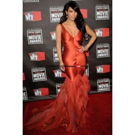 Kim Kardashian Orange Mermaid Gown Celebrity Dress Copies Critics' Choice Awards 2011
