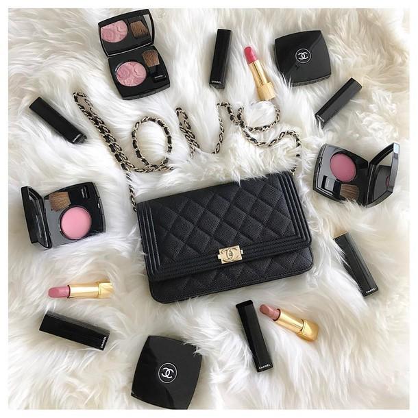 520c7abb8c31 make-up tumblr chanel pink lipstick makeup palette cheek blush bag black bag  chanel bag