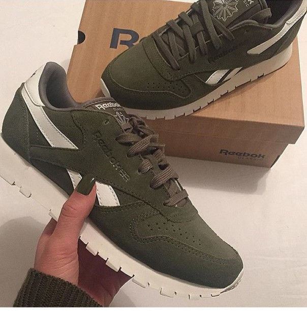 Reebok Olive Green And White