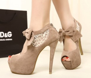 New Open Toe Ultra High Heels Lace Patchwork Bow Women Wedding Shoes Platform Shoes-inPumps from Shoes on Aliexpress.com