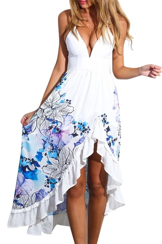 dress white spaghetti strap straps fashion trendy sexy cleavage hot floral summer style rose wholesale-feb