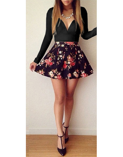 Roses floral flower dress long sleeves v neck short mini dresses skirt