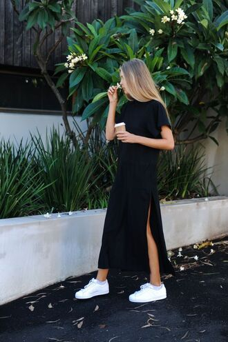 dress minimalist dress black dress slit dress sneakers white sneakers maxi dress summer dress summer outfits