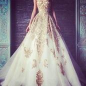 gold,white dress,white,gold dress,dress,quinceanera dress,queen