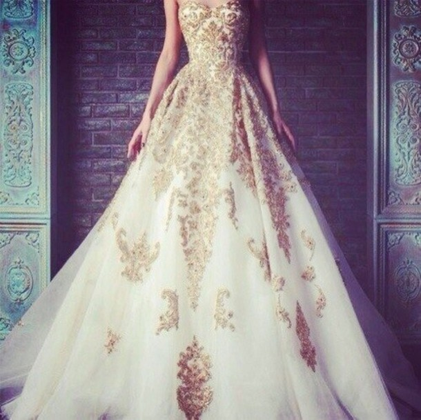 Dress: gold, white dress, white, gold, gold dress ...