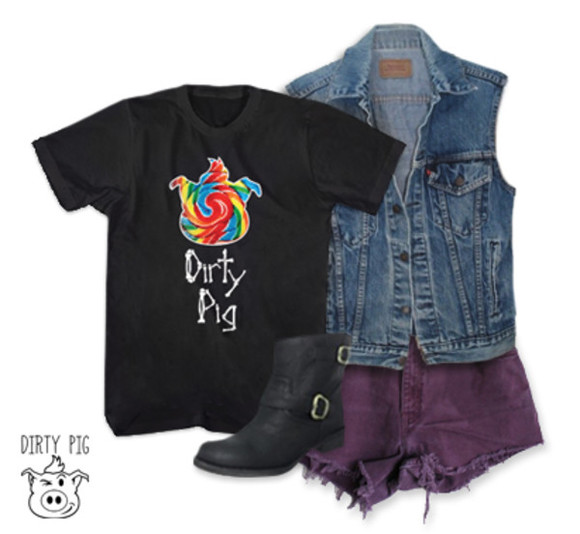 black boots dirty pig janoskians purple shorts denim jacket