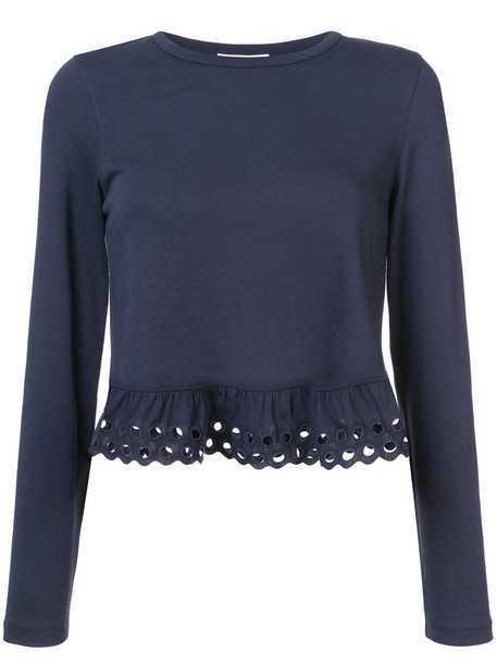 See by Chloe top ruffle women cotton blue