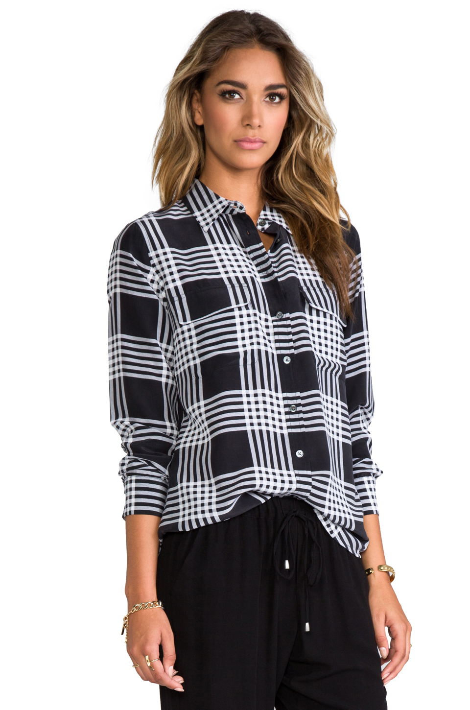 Equipment Slim Signature Ghost Plaid Blouse in Black | REVOLVE
