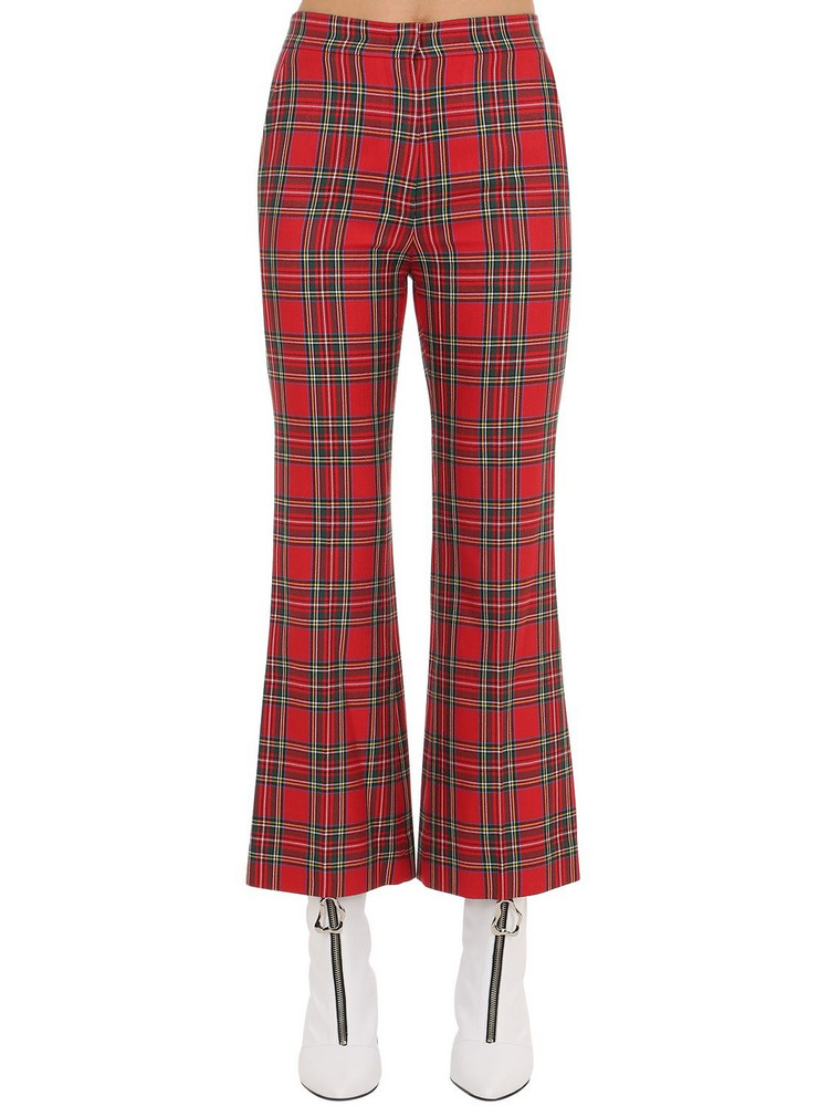 PUSHBUTTON Flared Plaid Pants in red