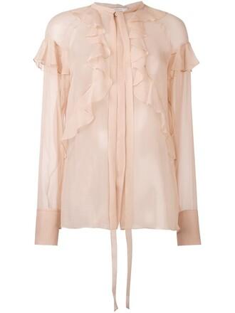 blouse sheer ruffle nude top