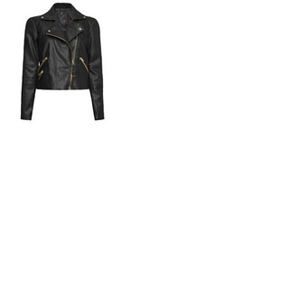 jacket black gold leather biker rock leather jacket