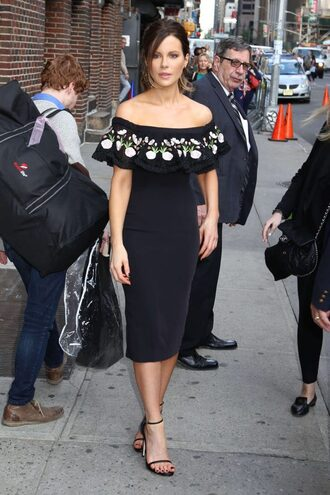 shoes sandals off the shoulder dress bodycon dress kate beckinsale midi dress black off shoulder dress off the shoulder embroidered dress embroidered ruffle ruffle dress sandal heels high heel sandals ankle strap heels black sandals all black everything celebrity style celebrity