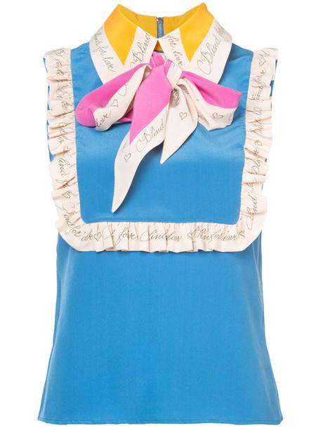 gucci top sleeveless top sleeveless women blue silk