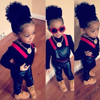 jumpsuit leather red and black jumper medallion necklace jumper leather jumpsuit leather jumper sunglasses red sunglasses bow bows hair bow kids fashion child divas fashion timberland boots shoes timberlands timberland kids timberlands gold chain necklace gold chain nyla milan faux leather