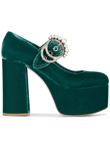 Miu Miu women heels leather velvet green shoes