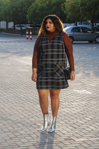 alreadypretty blogger dress top shoes bag plus size plus size dress pinafore dress ankle boots metallic shoes