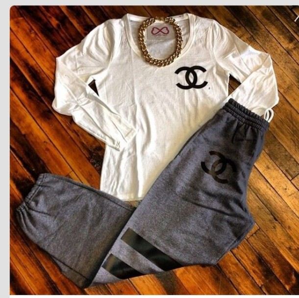pants grey sweatpants chanel chanel chanel inspired shirt