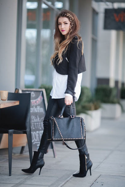 vickys style blogger black boots hairstyles black bag black jacket white shirt black and white jacket blouse pants shoes bag sunglasses