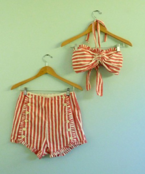 swimwear vintage swimwear candy stripe High waisted shorts two-piece 40's-50's
