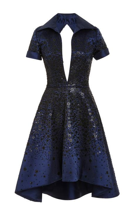 Black sequin cocktail dress with high