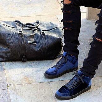shoes maniere de voir virtue velvet sneakers trainers midnight blue
