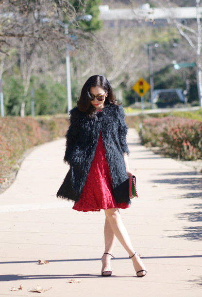 hallie daily blogger fluffy fuzzy coat red dress sandals dress coat bag sunglasses jewels shoes