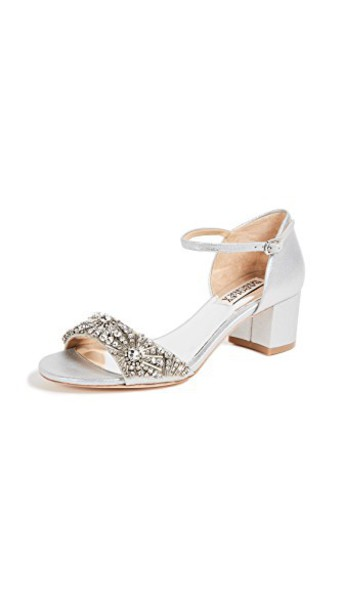 Badgley Mischka heel sandals silver shoes