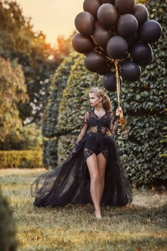 dress black tulle skirt lace chain long short high low