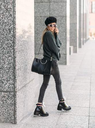 shoes beret tumblr boots black boots ankle boots sweater grey sweater bag black bag jeans grey jeans